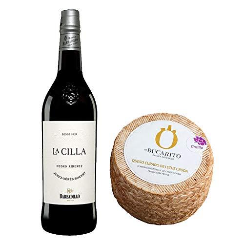 Pack de Vino Pedro Ximenez La Cilla de Barbadillo y Queso Curado de Leche Cruda en Tintilla - Vino de 75 cl y Queso de 900 g aprox - Mezclanza