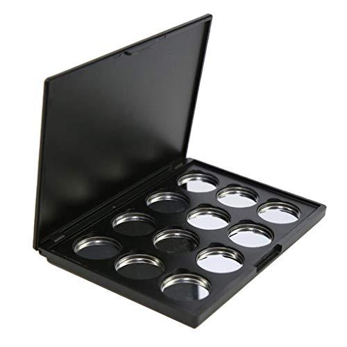 Toygogo Magnetische Lidschatten Make Up Palette Leer Erröten Lippenstift Behälter Kasten Mit 12pcs 26mm Runden Metallwannen