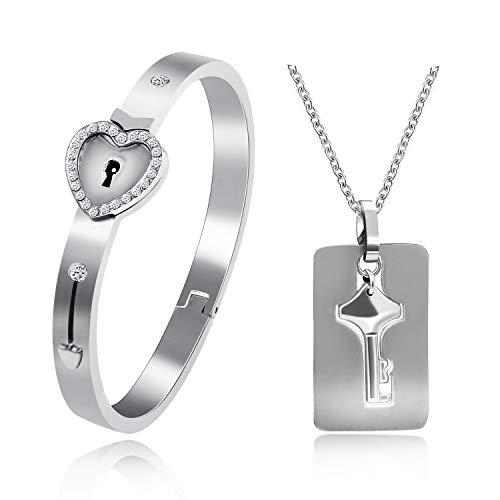 Uloveido Couples Rose Gold Plated Schloss Armreif und Schlüssel Halskette mit Zirkonia für Frauen und Männer Edelstahl Halskette Armband Set für Freund Freundin Y474