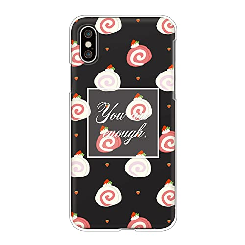 iPhone13 Pro Max アイフォン 対応スマホケース 【L】ブラック スイーツ柄 ロールケーキ いちご かわいい ドット柄 くすみカラー case6337