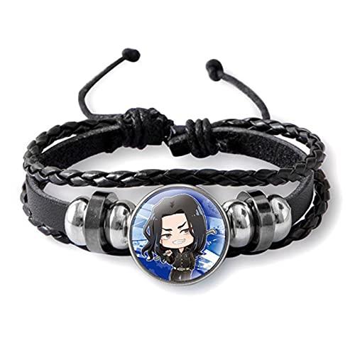 ALTcompluser Anime Tokyo Revengers Armband Schwarzes Geflochtenes Leder Bracelet für Frauen/ Männer, Glas Cabochon Ornament( Keisuke Baji)
