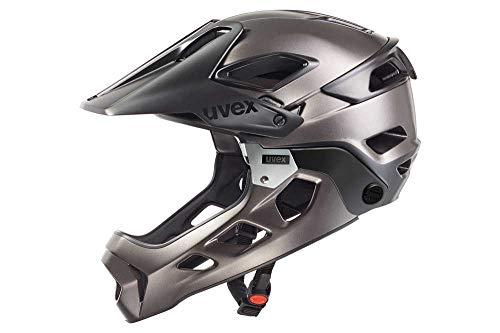 Uvex Jakkyl HDE Casco de Ciclismo, Unisex Adulto, Negro/Plateado Oscuro (Mate), 52-57 cm