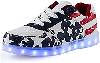 IGxx LED Shoes for Men USA Star LED Sneakers USB Recharging Light Up Shoes LED Women Glowing Luminous Flashing Shoes Kids Blue