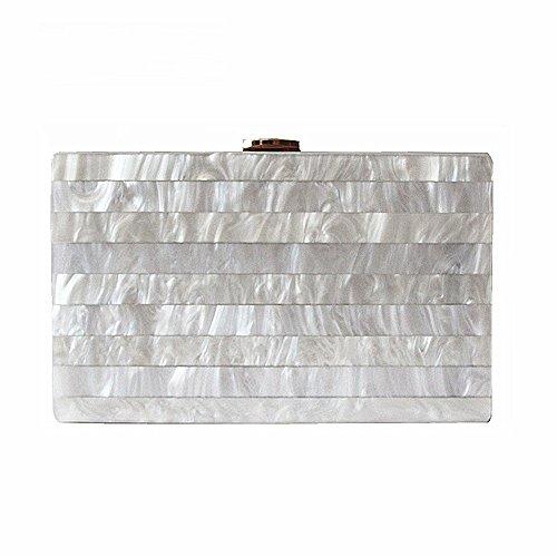 Dirmmis Brand Fashion Woman Evening Bags New Marble Solid Party Clutch Elegant Wedding Wallet Luxury Acrylic Handbag, White