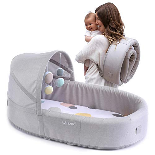 Lulyboo Travel Infant Bed - On The Go Baby Lounger Backpack - Combines Crib, Playpen and Changing Station (Bubble/Extra Insert)