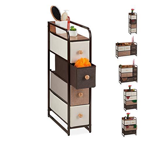 Relaxdays ladenkast, 4 stoffen vakken, smal, met knop, opbergruimte, niskast HBT 84,5 x 20 x 49,5 cm, bruin
