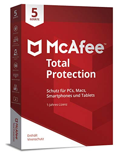 McAfee Total Protection 5 Device (Code in a Box). Für Windows 7/8/10/MAC/Android/iOs