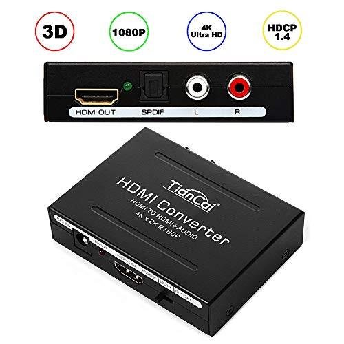 Tiancai 4K Convertitore Adattatore da HDMI Digitale a HDMI e SPDIF/Toslink e RCA L/R Audio - Uscita a Fibra Ottica con USB Cavo fino a 2160P per HD TV Blu-ray Lettore