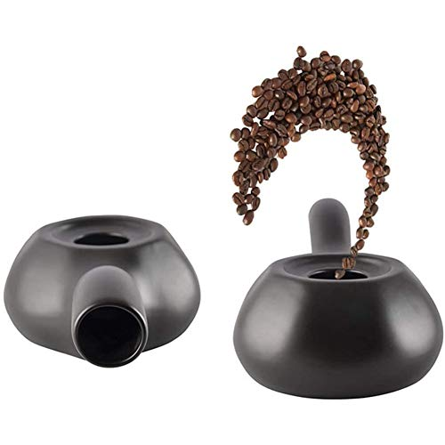 Huachaoxiang Handgefertigte Keramik Coffee Roaster, Mit Griff Handgemachte Coffee Roaster Need Feuerquelle Gasherd Petroleumlampe Zu Geröstete Kaffeebohnen Kaffee Röstmaschine,Schwarz