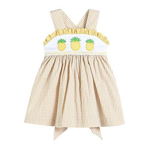 Lil Cactus Girls Smocked Sleeveless A-Line Dress, Yellow Seersucker Pinapples, 3T