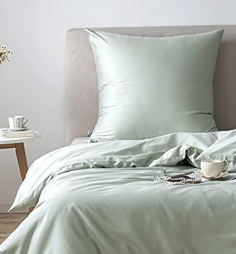 Juego de ropa de cama, funda de edredón suave y funda de almohada, 100% algodón egipcio extra largo para suavidad y comodidad (verde menta, 200 x 200 cm)