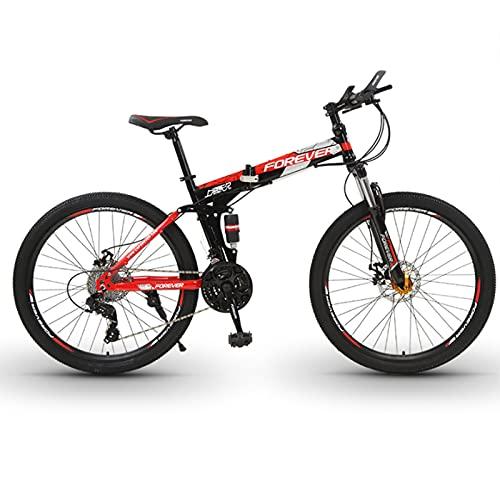 Bicicleta de montaña, Bicicleta De Montaña Plegable De 26 Pulgadas, Hombres Y Mujeres Bicicleta De Acero Al Carbono De La Bicicleta Portátil Con Bolsa Delantera De La Bicicl(Size:24 speed ,Color:Red)