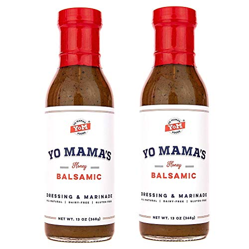 Yo Mamas Foods Gourmet and All-Natural Honey Balsamic Vinaigrette Salad Dressing and Marinade - (2) Bottles - Low Carb, Low Sodium, and Gluten-Free!