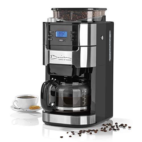 Barista Cafetera de filtro con molinillo | Incluye una jarra de vidrio para hasta 12 tazas de café | Para café en grano y café en polvo [ 1,5 litros / 900 vatios / acero inoxidable ]