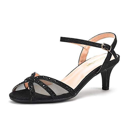 DREAM PAIRS Women's Nina-150 Black Low Heel Pump Sandals - 11 M US