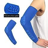 Mekta Sport - Codera anticolisiones de compresión con Mangas, para Exterior, Baloncesto, fútbol, bádminton, Equipo de protección, Color Blau-M, tamaño Medium