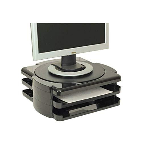 QIAO0142 in hoogte verstelbare voeten, ergonomische monitorstandaard, instelbare lengte voor laptop, pc, tv, printer zwart