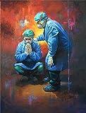 LDAAKL Pintura al óleo digital de bricolaje por número en lienzo para adultos kits decoración del hogar colorido cirugía doctor 16 x 50 cm