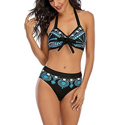 Modaworld Donna Costume da Bagno Taglie Forti Push Up Imbottito Reggiseno Bikini Donna 2 Pezzi Vita Alta Swimwear Abiti da Spiaggia