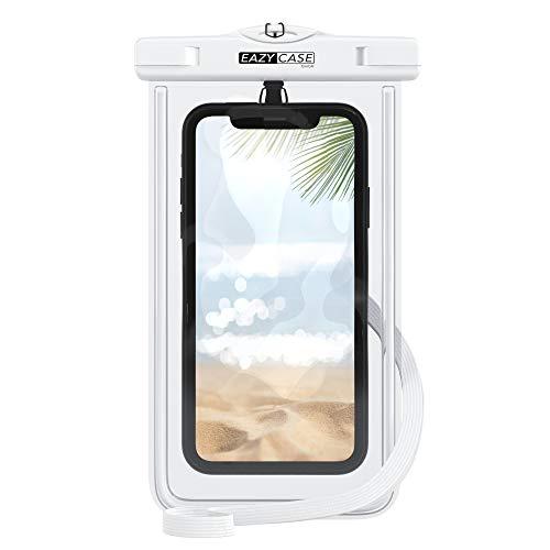 EAZY CASE wasserdichte Handytasche für alle Smartphones bis 6 Zoll, schützt vor Staub, Sand, Schnee, Schmutz, Wasser I Schutzhülle mit Umhängeband, IPX8 Zertifiziert, Transparent/Weiß
