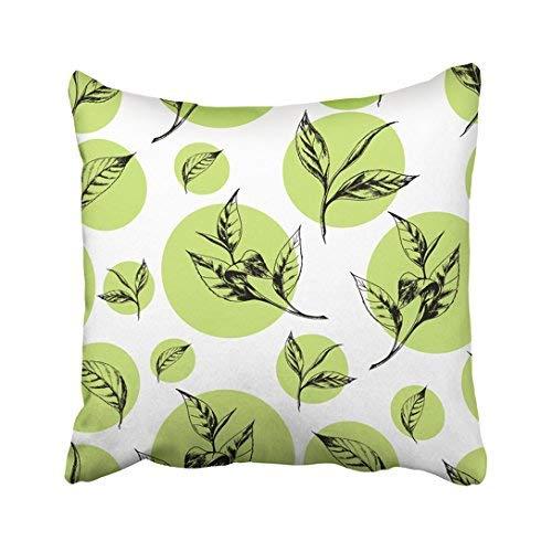 Funda de almohada decorativa para el hogar, 20 x 20 cm, hojas con hojas de té en círculo verde sobre blanco, estilo botánico vintage y otros diseños, 50 x 50 cm, fundas de cojín cuadradas decorativas para sofá, accesorio para el hogar, regalos