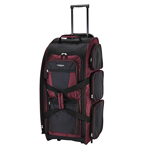 Travelers Club Xpedition 30 Inch Multi-Pocket Upright Rolling Duffel Bag, Crimson Red, 30-Inch