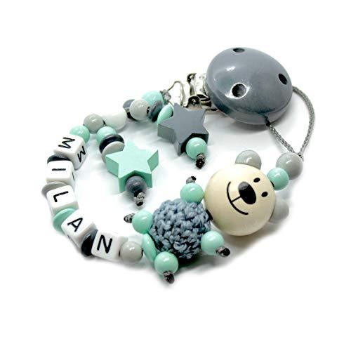 Schnullerkette mit Namen für Junge & Mädchen | VIELE INDIVIDUELLE MODELLE | Personalisierte Nuckelkette mit Wunschnamen (grau, mint, Bär)