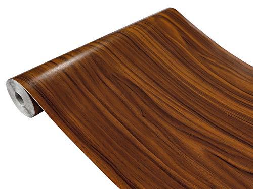 Askol DecoMeister Klebefolien in Holz-Optik Holzfolien Deko-Folien Holzdekor Selbstklebefolie Möbelfolie Selbstklebend Holz-Maserung 90x100 cm Gold Nussbaum