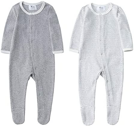 Unisex Baby Organic Cotton Footed Sleep and Play 2 Long Sleeve Pajamas 12 18Months Gray Melange product image