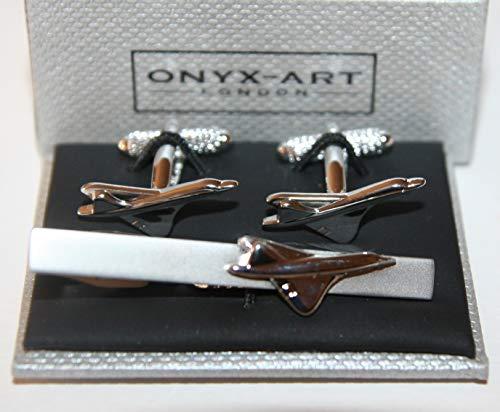 Onyx Art Herren Krawattennadel und Manschettenknöpfe – Concorde Flugzeug-Design