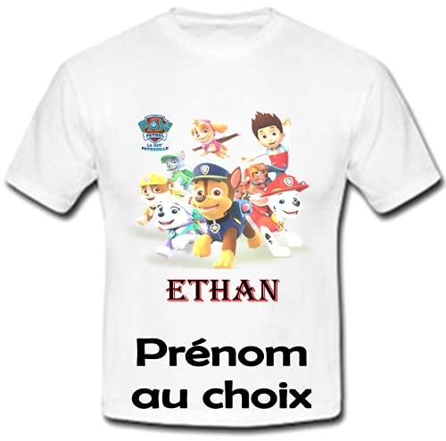 GRAVOPHOTO Tshirt personnalisé Pat Patrouille prénom et Taille au Choix