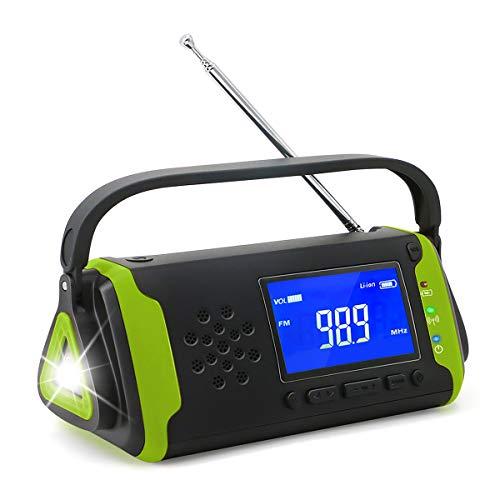 懐中電灯の機能と組み込みのラジオを備えた太陽光発電のマルチ機能屋外キャンプランタン、AM/FM とSOSアラーム機能 携帯電話緊急充電用ポータブルハンドクランク発電機 4000mAhバッテリーを搭載したAUXミュージックプレーヤー機能も内蔵 (緑)