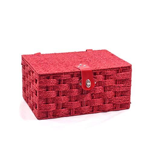 Cesto di vimini vuoto medio 40,6 cm, rosso con coperchio