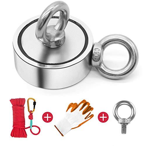 Magnete Stark,Doppelseitig Magnet fishing,300kg Haftkraft Magnetfischen Super Starker Magnet,N52 Magnet Angel 60mm Neodymium Topfmagnete