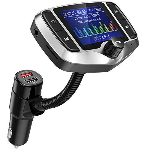 Nulaxy Trasmettitore FM Bluetooth, Trasmettitore FM per autoradio, Adattatore trasmettitore radio wireless con QC3.0, Chiamate vivavoce, Supporto USB Drive, Micro SD, AUX, Modalità EQ - KM29 Sliver
