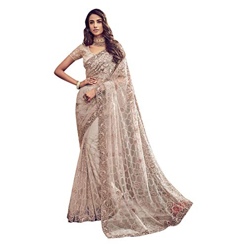 Cement Off White Digital netto pesante da sposa taglio lavoro Saree Christian Wedding Sari camicetta donne indiane Abito elegante 7870