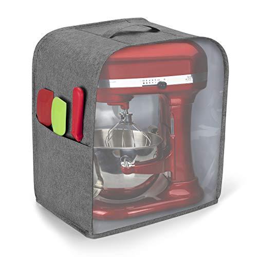 Luxja Housse de Protection pour KitchenAid Robot (5,6-7,5 Litre), Housse Transparent de Robot Patissier, Housse KitchenAid avec Panneau Avant Transparent, Gris