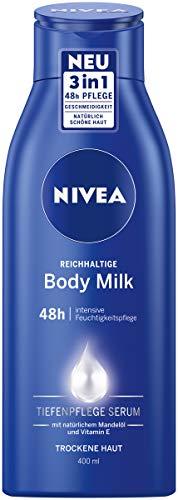 NIVEA Reichhaltige Body Milk (400 ml), für 48h Feuchtigkeitspflege, Lotion mit 3 in 1 Formel für trockene Haut mit Tiefenpflege Serum, Mandelöl und Vitamin E