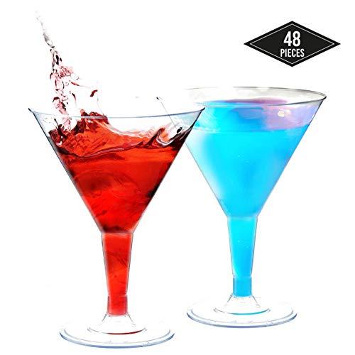 48 Stück Mini Einweg Plastik Martinigläser, 70 ml| Stabile & Wiederverwendbar| Kleine Cocktailgläser aus Kunststoff für Cocktails Verkostung Desserts bei Partys Geburtstage Hochzeiten Weihnachten.