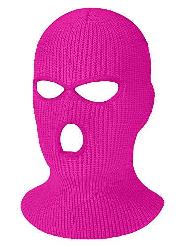 3-Hole Knitted Full Face Cover Ski Mask, Winter Balaclava Warm Knit Full Face Mask for Outdoor Sports (Rose Red, Adult Size)