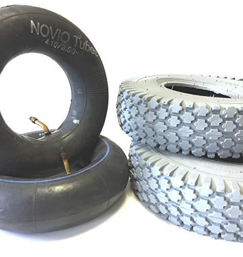 Rollstuhlreifen 2 Stück 4.10/3.50-5 grau + 2 Stück Schlauch Winkelventil, Reifen kräftiges Blockprofil, Stabiler 4 PR Reifenaufbau, Rollstuhl Reifen für Elektromobil, Scooter, E-Rollstuhl