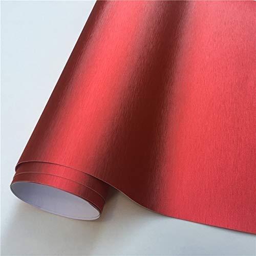 F-MINGNIAN-TOOL, FMN-Film, 1 Stück, verschiedene Farben, gebürstetes Aluminium, Vinyl-Folie, matt gebürstetes Chrom, metallisch, für Auto-Motorcomputer (Farbe: Rot, Größe: 152 x 30 cm)