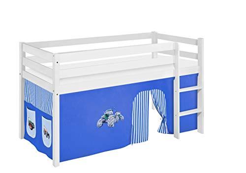 Lilokids Lit de jeu JELLE Trecker bleu - Certifié TÜV & GS - Blanc - Lit mezzanine avec rideau et sommier à lattes