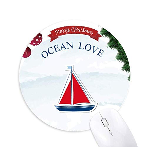 Segelboot Meer Liebe Meer Segeln Blue Round Rubber Maus Pad Weihnachtsbaum Mat