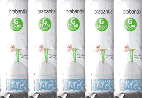 5 x Brabantia Pack Of 20 Extra Strong Perfect Fit G Size 23-30L Waste Bin Liners