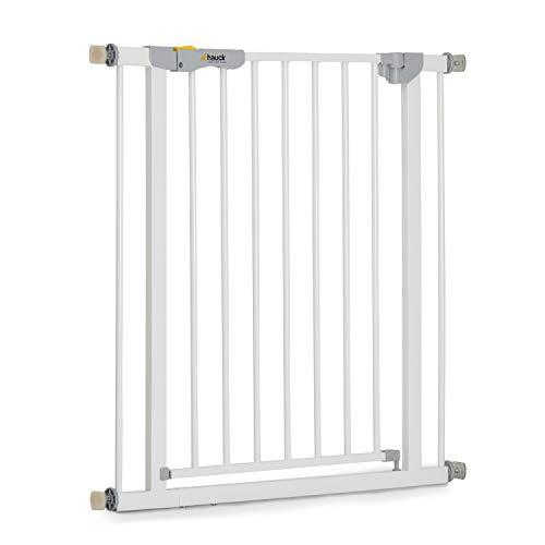 Hauck Türschutzgitter / Treppenschutzgitter für Kinder Autoclose N Stop Safety Gate / selbtstschließend / ohne Bohren / 75 - 80 cm breit / erweiterbar mit separater Verlängerung / Metall Gitter / weiß
