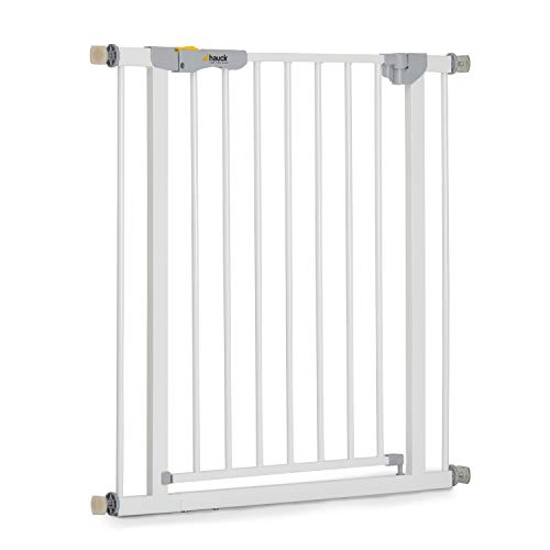 Hauck Safety Gate for Doors and Stairs Autoclose N Stop / Pressure Fit / Self-Closing / 75 - 80 cm Large / Extendable with Separate Extensions / Metal / White