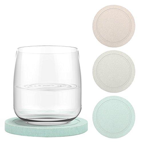 Nuovoware Posavasos de Bebida de 4 Unidades, Posavasos Redondos de Copa de Diatomita, Antideslizante con Ranuras para Copas, Vasos O Tazas