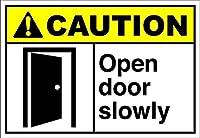 レトロなビンテージバー看板ティンサインヴィンテージ、オープンドアゆっくり注意、錫壁看板警告サインメタルプラークポスター鉄絵画アート装飾バーカフェキュートホテルオフィス寝室ガーデン