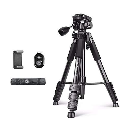 MIAO. Trípode para cámara, trípode de aleación de aluminio con control remoto inalámbrico Bluetooth, trípode de fotografía profesional portátil, trípode de viaje de aluminio, negro